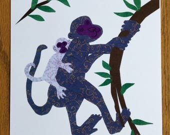 Monkey Mama, nursery room decor, baby room wall art, whimsical african art, nursery decor, baby's room, child african art prints, monkey