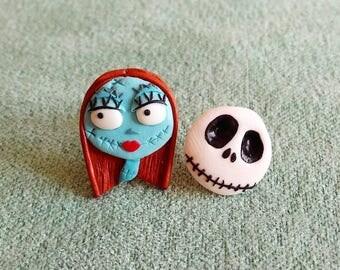 Nightmare Before Christmas Earrings, Halloween Earrings, Halloween Jewelry Skull Earrings Skull Jewelry Sally and Jack The Skeleton Earrings