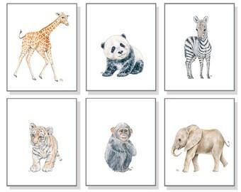 Zoo Animal Art Zoo Nursery Prints Whimsical Nursery Art Boy Room Painting Girl Room Decor Elephant Giraffe Zebra Tiger Monkey Panda Set 6