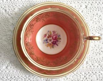 Peach Aynsley China Tea Cup & Saucer