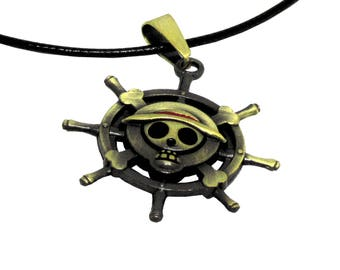 "One Piece Pirate Flag Necklaces 16"" Black Cord"
