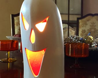 Halloween Ceramic Ghost Light Luminary, Light Up Ghost, Scary Spooky Ghost Light