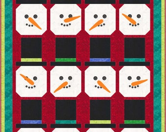 Christmas Winter Top Hat Snowman Quilt Pattern - INSTANT DOWNLOAD