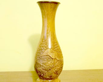 Faux Wood; Embossed Plastic Vase; West Germany; Felt Bottom; Bottom is Heavy; Realistic !!!