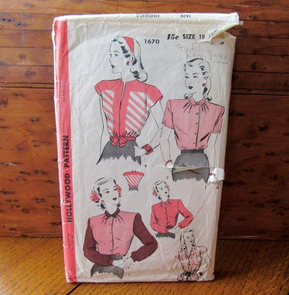 Hollywood 1940's Blouse Sewing Pattern #1670