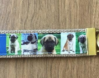 English Mastiff Key Chain Wristlet Zipper Pull