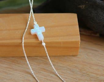 Opal Cross Necklace / Sideways Cross Choker / White Opal Necklace / Sterling Silver Necklace / Celebrity Inspired Christian Opal Jewelry