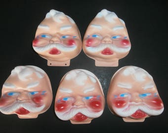 Vintage Christmas Santa doll faces lot of 5 thin plastic do it yourself Santa dolls