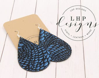 Chinese Dragon Royal Blue Metallic on Black Cowhide Earrings - Carolina Panthers!!
