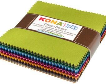Charm Squares Dusty 101 Palette Kona Cotton - Robert Kaufman (CHS-563-101)