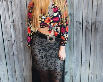 Vintage 90s sheer high waisted black maxi skirt with floral applique S