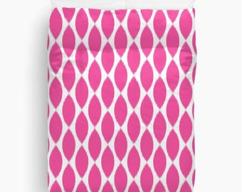 Fuchsia Decor, Ikat Bedding, Fuchsia Duvet Cover, Girls Bedroom Decor, Teen Bedding, Tween Room Decor, Dorm Bedding, Queen Duvet
