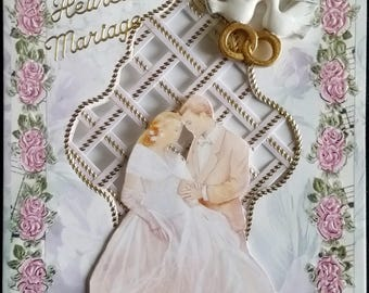 groom, couple card image 3d grid background