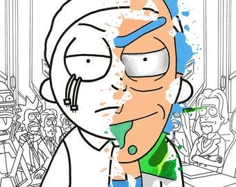 Rick and Evil Morty Face Splatter
