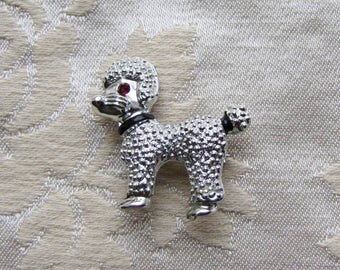 Vintage Red Rhinestone Eye Poodle Dog Brooch Pin