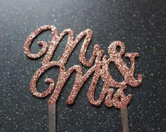 Mr and Mrs Cake Topper ROSE GOLD GLITTER