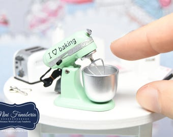 Stand Mixer NEW Collection -PISTACHIO handmade Dollhouse 1:12 scale realistic kitchen appliance