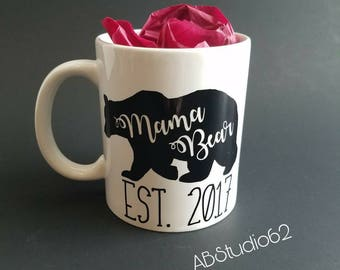 Mama Bear Mug, New Mom gift, Latte Mug,  Mom Coffee Mug,  15 oz Coffee Mug,  Mom Gift, Mom Mug, Gift for mom, Mama Bear, Mothers Day Gift