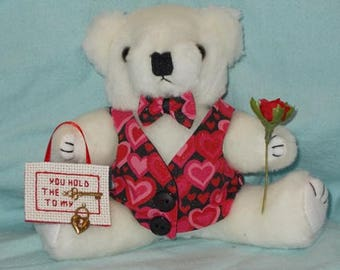 Valentines Day Gift/Key to My Heart Bear/ Valentine's Day/Valentine's Day Teddy Bear Gift/Teddy Bear Gift
