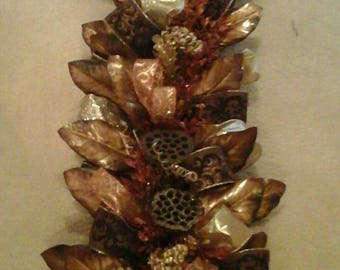 Magnolia Garland Swag, Lighted Fireplace Mantel Swag, Entertainment Center, Table Runner, SHIPPING INCLUDED, Fall, Christmas Arrangement