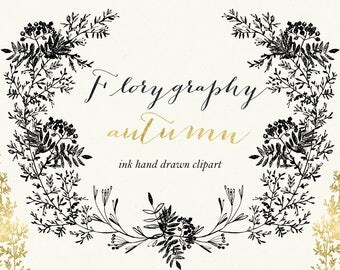 Florygraphy Autumn. Ink hand drawn clipart. Black and gold. Elegant and original Calligraphy style logo, invitation, blog.