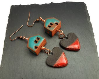 Clay Earrings, Ceramic Earrings, Artisan Earrings, Home Is Where The Heart Is Earrings, OOAK Earrings, Rustic Earrings, House Earrings,