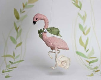 RESERVED ++ Antique inspired heirloom Spun Cotton  Flamingo ornament