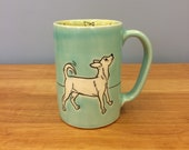 Handmade Chihuahua Dog Mug. Glazed in Aqua and Lime. MA135