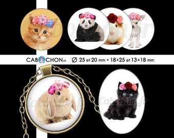 Animaux Bohèmes • 60 Images RONDES 25 20 mm OVALES 18x25 13x18 mm lapin chat panda chien Chihuahua gipsy boho fleurs wild chaton couronne
