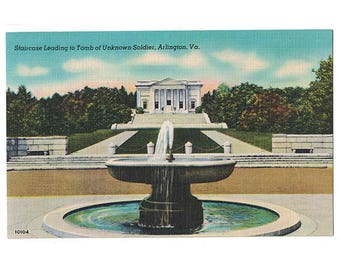 Arlington National Cemetery Virginia vintage linen postcard | Tomb of the Unknown Soldier, Memorial Amphitheater | 1940s VA military decor
