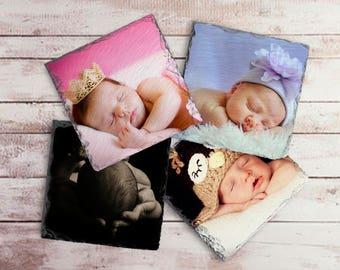 Your Photograph on Slate Coaster Set, Photographic Keepsake, Photo Memory Coasters, Personalized Photo Coasters, Photo Table Decoration