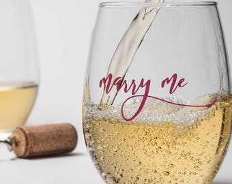 Marry Me Wine Glass, Wedding Engagement Gift, Marriage Proposal Glass for Him Her, Gift for Future Bride, Stemmed Stemless Beer Glass