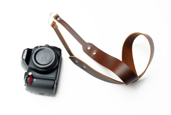 Horween leather camera strap / adjustable camera strap / Brown with black rivets