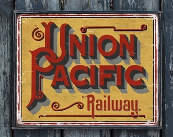 Vintage wooden sign 'Union Pacific Railway' reproduction
