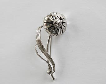 Sterling Danecraft Dimensional Flower Brooch