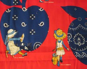 Vintage Holly Hobbie Calico Fabric 1 + Yard Unused Apple Cowboy Kerchief