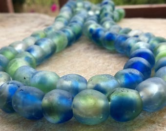 15 Mottled Blue Green African recycled Glass beads,14-15 mm African Glass Beads, Ghana Krobo Beads,15 Blue Green Glass Beads, African Beads