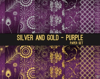 Silver and Gold on Purple Digital Paper Silver Glitter 12x12 Textures, Glitter, Foil, Metallic, Backgrounds, Instant Download