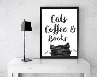 Attrayant Cat Wall Art, Reading Quote Print, Digital Wall Art, Literature Quote, Book