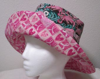 """Bucket Hat 23"""" Large Pink Flamingo with breast cancer pink ribbon"""