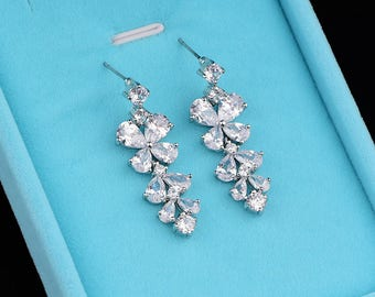 Flower Cubic Zirconia Earrings Bridal Earrings Crystal Earrings Wedding Dangle Drop Earrings Wedding Jewelry 80014
