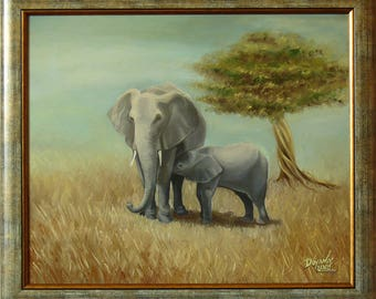 SAVANNA - Original painting oil on canvas, Framed and ready to hang / Elephant painting / Elephants / Elephant artwork