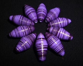 "Set ""violetta"" of 10 oval purple paper beads (ideal for design of earrings)"
