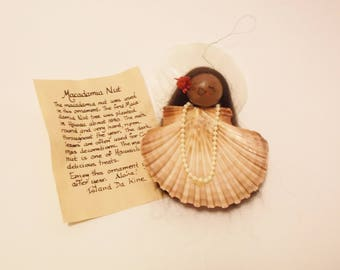 Vintage Hawaiian Macadamia Nut and scallop shell angel ornament.   Free shipping in USA