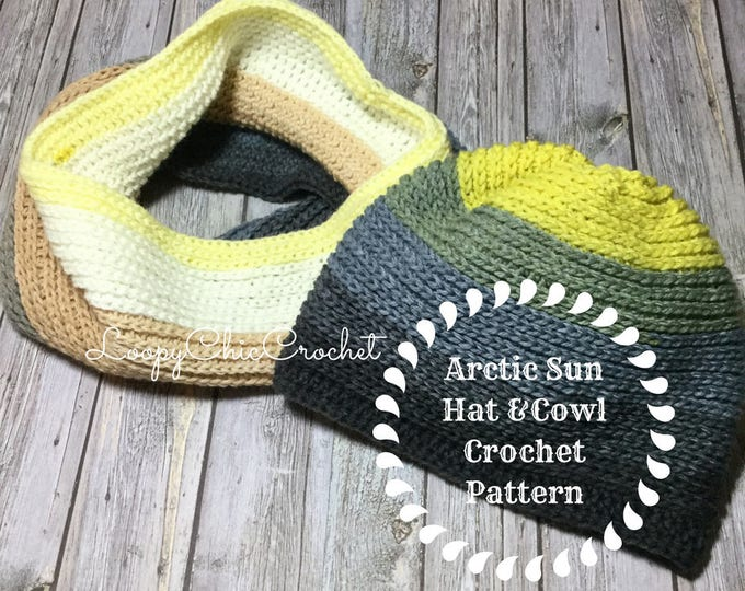 Arctic Sun Hat and Cowl Crochet Pattern SET, Hat and Cowl Crochet Pattern, Easy Crochet Pattern and Tutorial