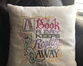 Book themed decorative pillow.