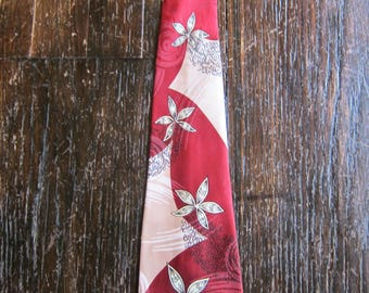 Nice Satin Rayon Floral 1940s Swing Tie