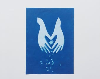 Magic Hands - original cyanotype 5.5x7.5