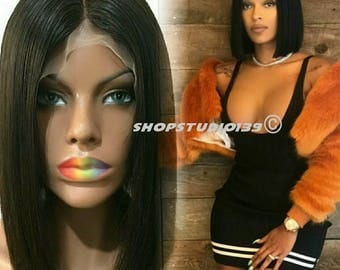 Custom made 100% Virgin Brazillian human hair lace front bob cut wig  12inch