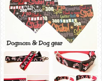 Red and Black Bowling Dog Collar, Bowling Dog Leash, Dog Collar, Dog Supplies, Dogmom and Dog Matching Gear